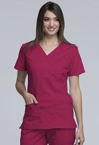 Cherokee Workwear Mock Wrap Top Cerise (4728-CERI)