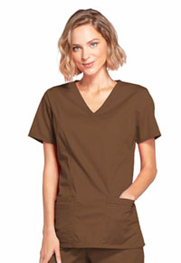 Cherokee Workwear Mock Wrap Top Chocolate (4728-CHCW)