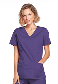 Cherokee Workwear Mock Wrap Top Grape (4728-GRPW)