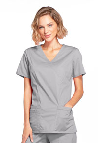 Cherokee Workwear Mock Wrap Top Grey (4728-GRYW)