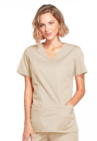 Cherokee Workwear Mock Wrap Top Khaki (4728-KAKW)