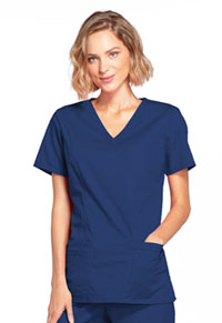 Cherokee Workwear Mock Wrap Top Navy (4728-NAVW)