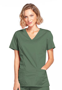 Cherokee Workwear Mock Wrap Top Olive (4728-OLVW)