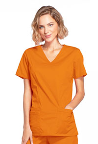 Cherokee Workwear Mock Wrap Top Pumpkin (4728-PUNW)