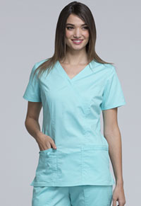 Cherokee Workwear Mock Wrap Top Tahiti Sweetie (4728-TAST)