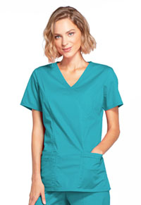 Cherokee Workwear Mock Wrap Top Teal Blue (4728-TLBW)