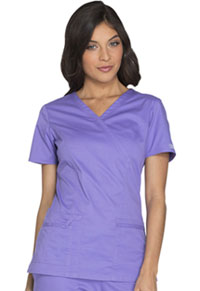 Cherokee Workwear Mock Wrap Top Vivid Violet (4728-VDVO)