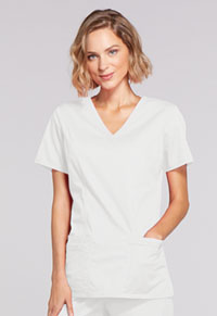 Cherokee Workwear Mock Wrap Top White (4728-WHTW)