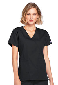 Cherokee Workwear Mock Wrap Top Black (4741-BLKW)