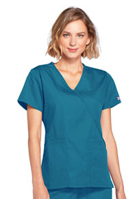 Cherokee Workwear Mock Wrap Top Caribbean Blue (4741-CARW)