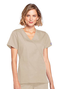 Cherokee Workwear Mock Wrap Top Khaki (4741-KAKW)