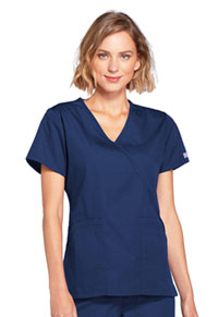 Cherokee Workwear Mock Wrap Top Navy (4741-NAVW)