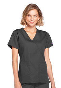 Cherokee Workwear Mock Wrap Top Pewter (4741-PWTW)