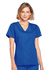 Cherokee Workwear Mock Wrap Top Royal (4741-ROYW)