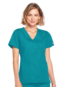 Cherokee Workwear Mock Wrap Top Teal Blue (4741-TLBW)