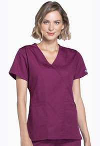 Cherokee Workwear Mock Wrap Top Wine (4741-WINW)
