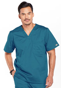Cherokee Workwear Men's Tuckable V-Neck Top Caribbean Blue (4743-CARW)