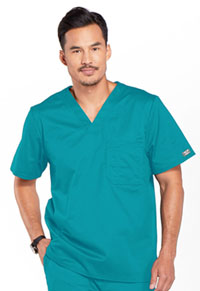 Cherokee Workwear Men's V-Neck Top Teal Blue (4743-TLBW)