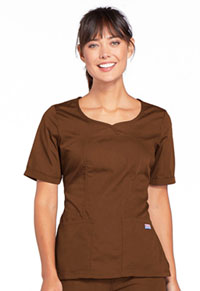 Cherokee Workwear V-Neck Top Chocolate (4746-CHCW)