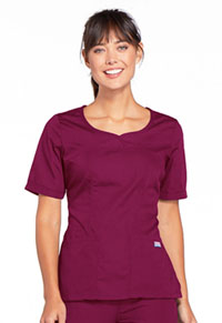 Cherokee Workwear V-Neck Top Wine (4746-WINW)