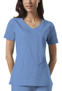 Cherokee Workwear Mock Wrap Top Ciel (4747-CIEW)