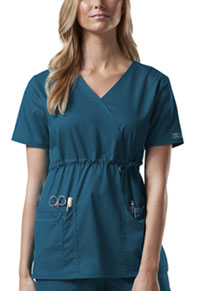 Cherokee Workwear Mock Wrap Top Caribbean Blue (4748-CARW)