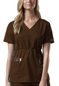 Cherokee Workwear Mock Wrap Top Chocolate (4748-CHCW)