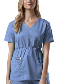 Cherokee Workwear Mock Wrap Top Ciel (4748-CIEW)