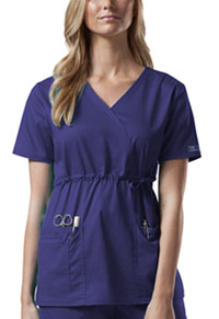 Cherokee Workwear Mock Wrap Top Grape (4748-GRPW)
