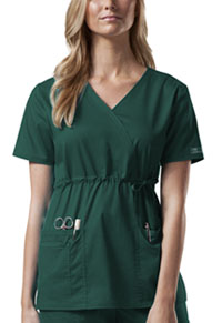 Cherokee Workwear Mock Wrap Top Hunter (4748-HUNW)
