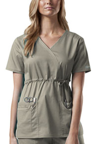 Cherokee Workwear Mock Wrap Top Khaki (4748-KAKW)