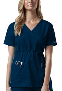 Cherokee Workwear Mock Wrap Top Navy (4748-NAVW)
