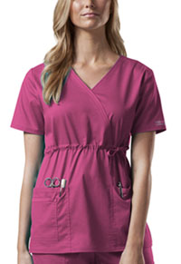 Cherokee Workwear Mock Wrap Top Shocking Pink (4748-SHPW)