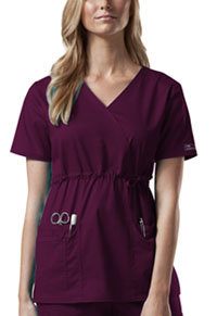 Cherokee Workwear Mock Wrap Top Wine (4748-WINW)