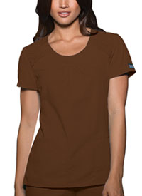 Cherokee Workwear Round Neck Top Chocolate (4761-CHCW)