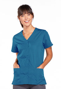 Cherokee Workwear Snap Front V-Neck Top Caribbean Blue (4770-CARW)