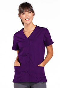 Cherokee Workwear Snap Front V-Neck Top Eggplant (4770-EGGW)