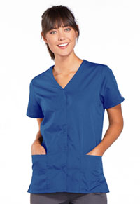 Cherokee Workwear Snap Front V-Neck Top Galaxy Blue (4770-GABW)