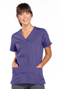 Cherokee Workwear Snap Front V-Neck Top Grape (4770-GRPW)