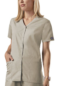 Cherokee Workwear Snap Front V-Neck Top Khaki (4770-KAKW)