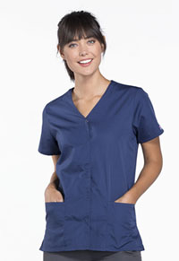 Cherokee Workwear Snap Front V-Neck Top Navy (4770-NAVW)