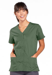 Cherokee Workwear Snap Front V-Neck Top Olive (4770-OLVW)