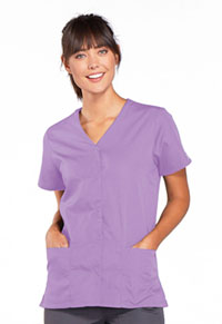 Cherokee Workwear Snap Front V-Neck Top Orchid (4770-ORCW)