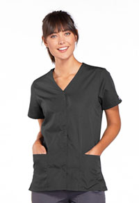 Cherokee Workwear Snap Front V-Neck Top Pewter (4770-PWTW)
