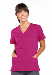Cherokee Workwear Snap Front V-Neck Top Raspberry (4770-RASW)