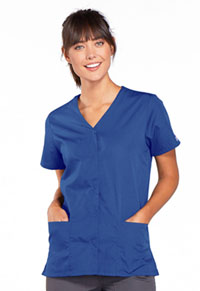 Cherokee Workwear Snap Front V-Neck Top Royal (4770-ROYW)