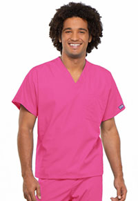 Cherokee Workwear Unisex V-Neck Tunic. Shocking Pink (4777-SHPW)