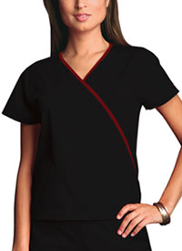 Cherokee Workwear Mini Mock Wrap Top Black (4800-BLKW)
