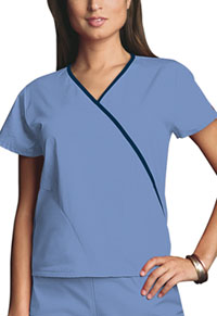 Cherokee Workwear Mini Mock Wrap Top Ciel (4800-CIEW)