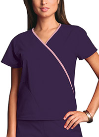 Cherokee Workwear Mini Mock Wrap Top Eggplant (4800-EGGW)